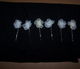 Six Bobby Pins with Flowers
