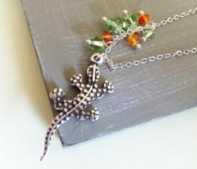 Lizard Charm Necklace with Swarovski Crystals