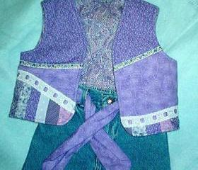 Girls upstyled jeans with vest Size 4