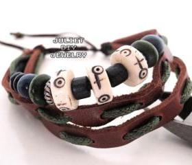 Genuine leather bracelet zen beads bracelet leather zen bracelet primitive fashion