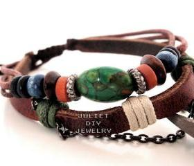 Beautiful turquoise bead leather handmade bracelet turquoise jewelry