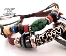 Turquoise bead leather handmade bracelet with antique silver tube