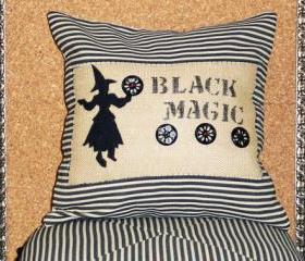 Decorative throw pillow cushion cover with black magic witch applique gothic and halloween inspired