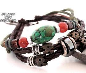 Turquoise bead leather handmade bracelet with beautiful silver bead