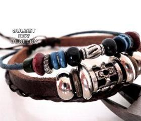 Handmade leather bracelet with very cool silver and wooden beads