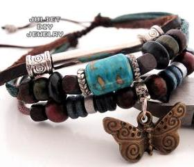 Turquoise center bead leather bracelet with brass butterfly charm