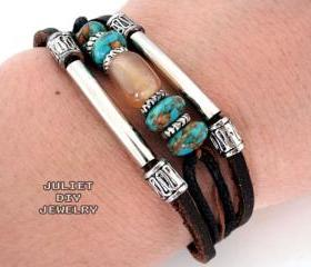 Beautiful agate and turquoise bead leather bracelet 