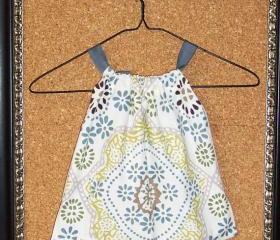 Girl's dress or tunic in ivory cotton with sage green, gold, taupe, citron, teal mosaic print in 12 month / 1T