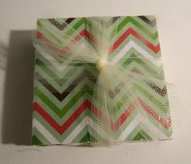 Christmas Green, Red, White and Brown Chevron Coaster