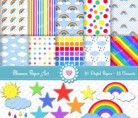 Rainbow Digital Scrapbooking Paper - Printables - 10 Sheets - 11 Clipart - Parties - Scrapbook - Invitations - 300dpi. - 1355