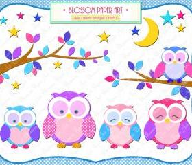 Owls Clipart - Printables - Pink Light Blue Violet - Branches - Moon - Stars - 12 Clipart - 300dpi - 1358