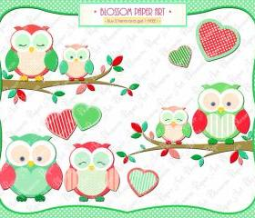 Cute Owls - Hearts - Branch - Red - Green - Printables - DIY Proyects - 300 dpi - 1358