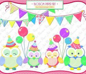 Cute Owls Party Clipart Clip Art - Birthday - Printables - Personal and Commercial Use - 1359