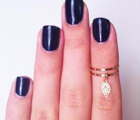 2 Above the Knuckle Rings - gold plated thin rings - with an embellished leaf set of 2 gentle midi rings