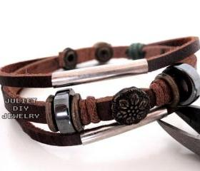 Flower brass bead leather warrior bracelet