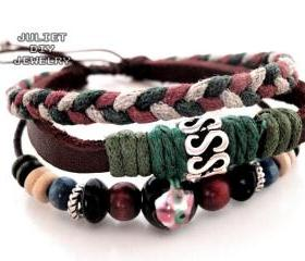 Auspicious leather bracelet lucky bracelet