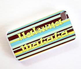 Hakuna Matata iPhone 4 or iPhone 4s Case in Banana Yellow Blue and Brown