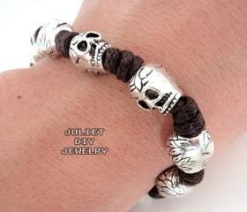 Skull silver bead hemp cord bracelet 