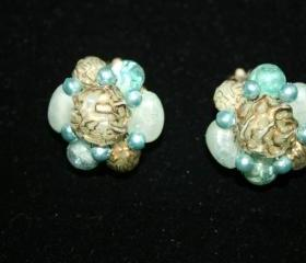 Vintage Clip Earrings .. Blue and Gold Acrylic Beads .. Hong Kong