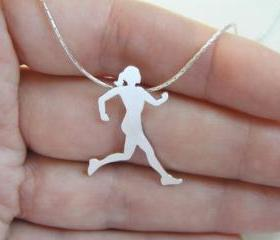 Sterling Silver Runner Neckalace pendant, Running woman silhouette, Sport Jewelry, Hand Cut