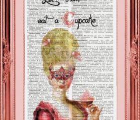 Art Print Let Them Eat A Cupcake Vintage Dictionary Page French to English Definitions