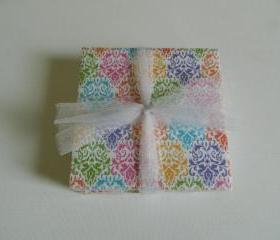 Bright Multi-Colored Damask Print Coasters
