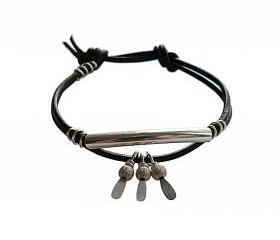 Leather Wrap Stacking Bracelet in Black and Sterling Silver