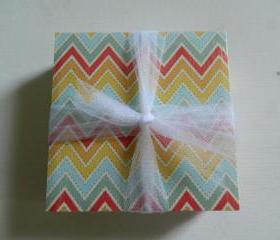 Bright, Sunshine Chevron Print Tile Coasters