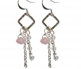 PInk, Clear Crystal, Chain, and Hammered Silver Earrings. Wire Wrapped Pink Chalcedony Onion Briolette Earrings