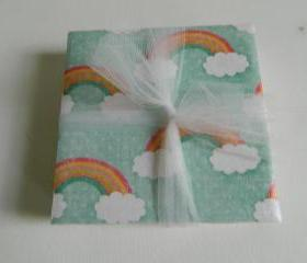 Rainbow and Cloud Print Tile Coasters