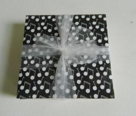 Black with White Music Note Tile Print Coasters