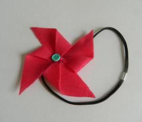 Bright Pink and Turquoise Felt Pinwheel Headband