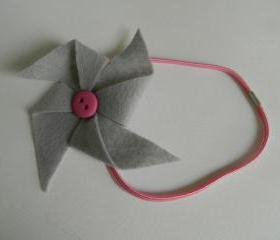 Grey and Pink Felt Pinwheel Headband