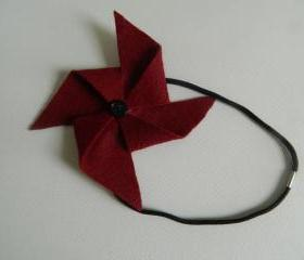 Garnet and Black Felt Pinwheel Headband