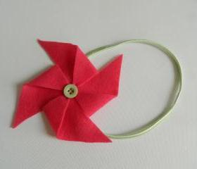 Bright Pink and Mint Green Felt Pinwheel Headband