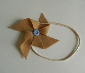 Tan and Light Blue Felt Pinwheel Headband