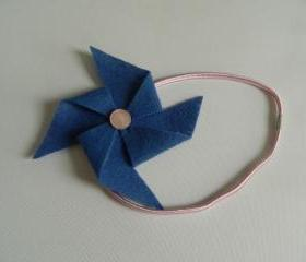 Blue and Pink Felt Pinwheel Headband