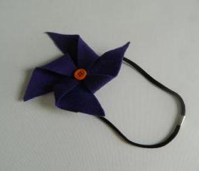 Purple and Orange Felt Pinwheel Headband