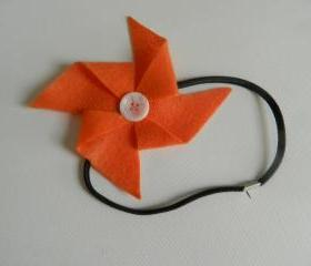 Orange and White Felt Pinwheel Headband