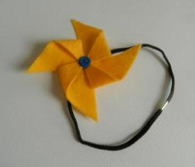 Yellow and Blue Felt Pinwheel Headband