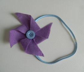 Lavender and Light Blue Felt Pinwheel Headband