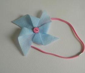 Light Blue and Pink Felt Pinwheel Headband