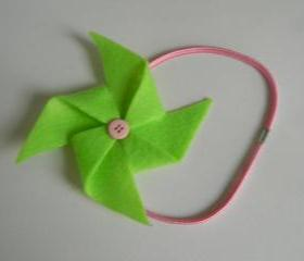 Lime Green and Pink Felt Pinwheel Headband