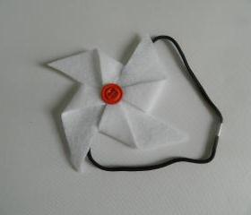 White and Orange Felt Pinwheel Headband