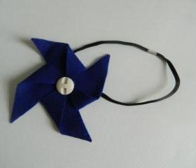 Bright Blue and White Felt Pinwheel Headband