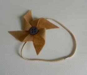 Tan and Purple Felt Pinwheel Headband