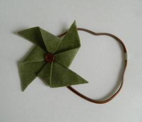 Green and Brown Felt Pinwheel Headband