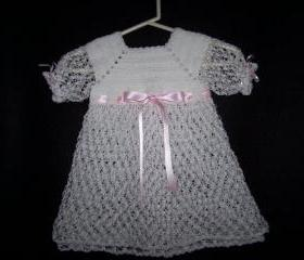 White Hand Crocheted Christening,Baptisim,Blessing,Photo Prop Dress