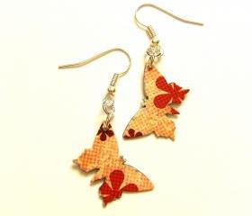 Paper butterflies earrings orange vintage style 