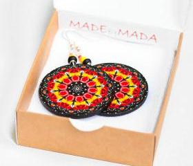 Folk Earrings Rosette Mandala - Yellow Red Black - decoupage earrings - double faced